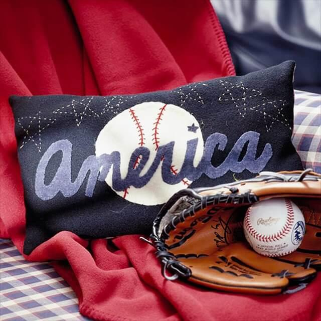 Baseball Applique Pillow