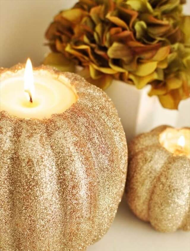 glitter colored pumpkin candle ideas