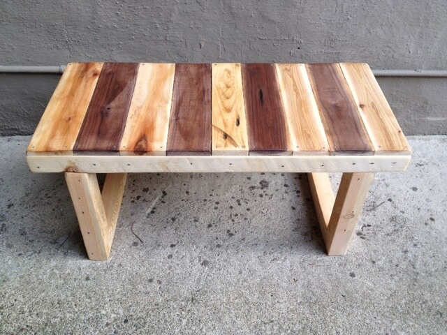 Bench made from reclaimed pallet wood