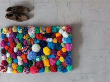 Beautiful pom pom rug