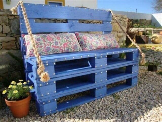 blue pallet bench