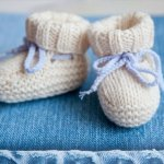 white knit baby booties