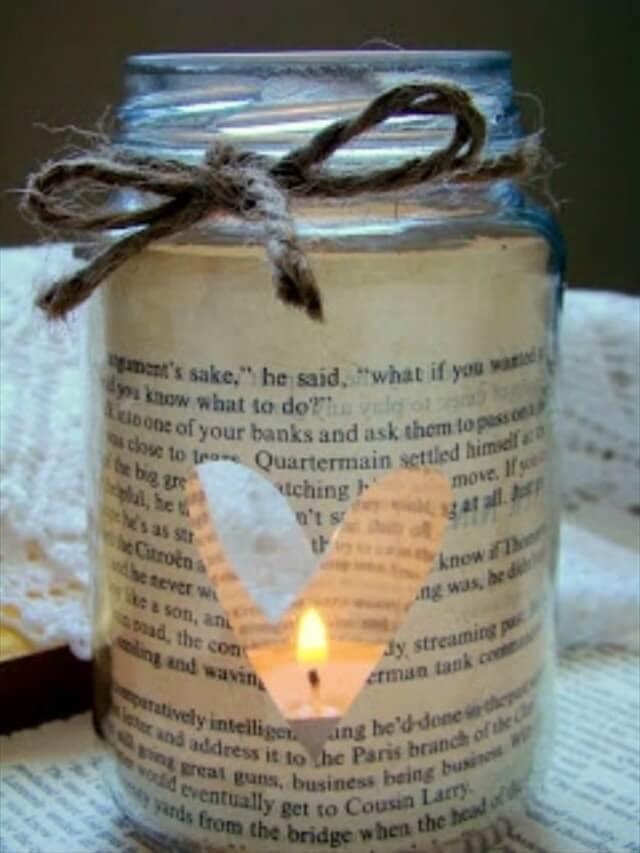 DIY Book Page Mason Jar Candle Holder