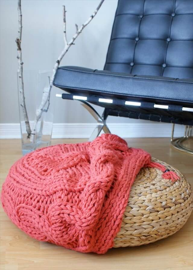 DIY Knitting PATTERN Cable Knit Footstool