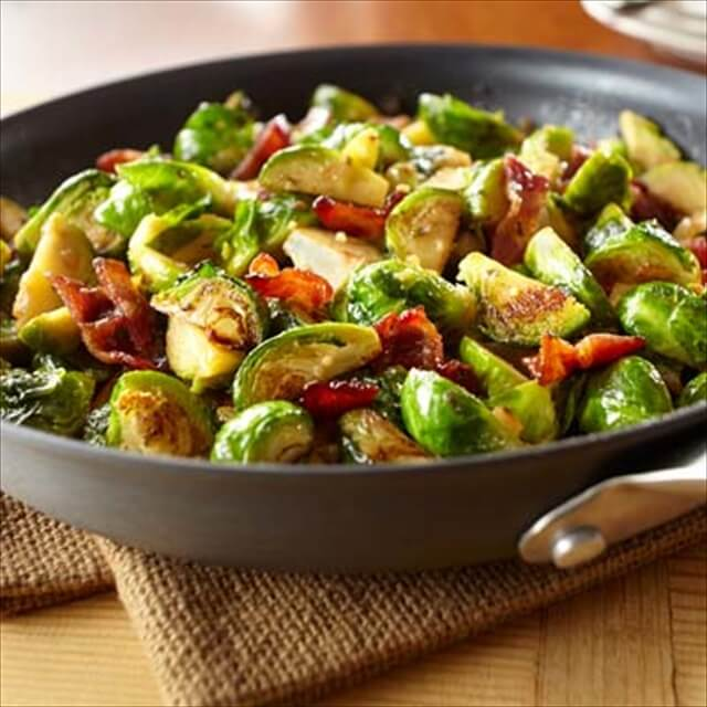 Garlic Brussels Sprouts with Candied Bacon