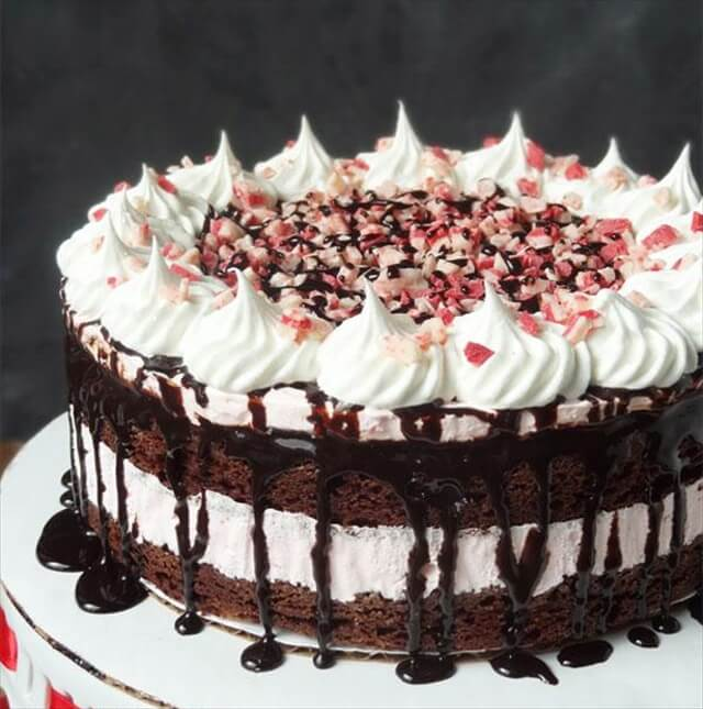 Peppermint Brownie Ice Cream Cake