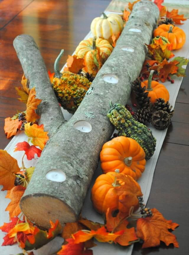 Minute Birch Log Candle Centerpiece