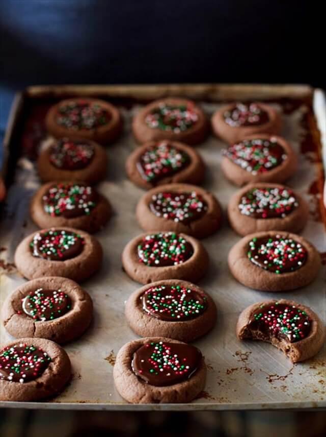 Mini Chocolate Thumbprint Cookies