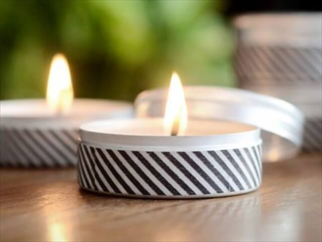 This easy tutorial explains how to use washi tape and basic candle making materials to create a mini soy candle that is perfect for your desk or as part of a gift.