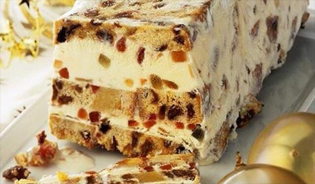 Semifreddo Layered Fruit Loaf and Ice Cream Dessert