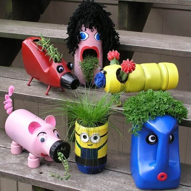 Cute upcycled planters for kids. These container gardening ideas offer a great way to brighten