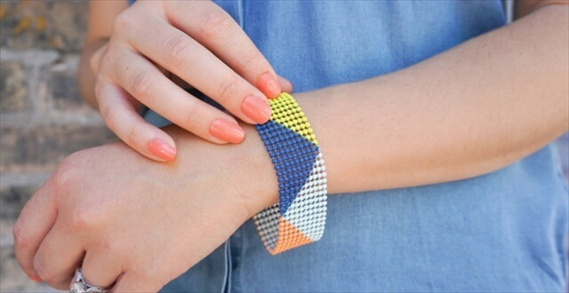 Geometric Color Blocked Bracelet