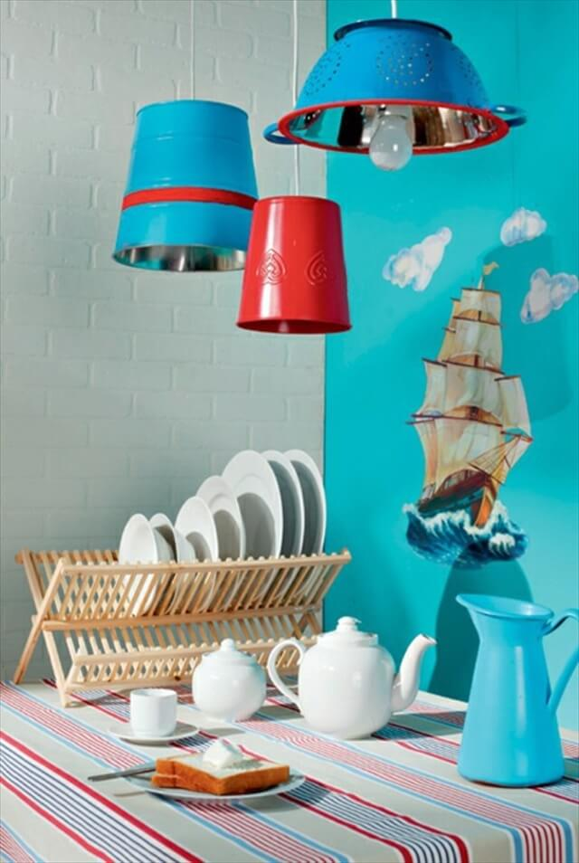 Old kitchen utensils are hanging lamps