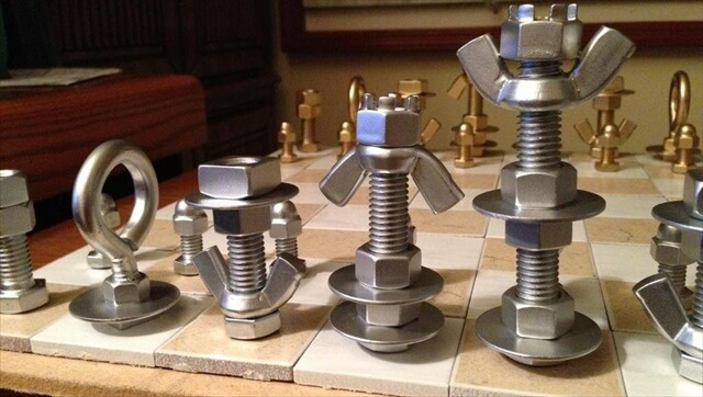 Nuts and Bolts Chess Piece Set
