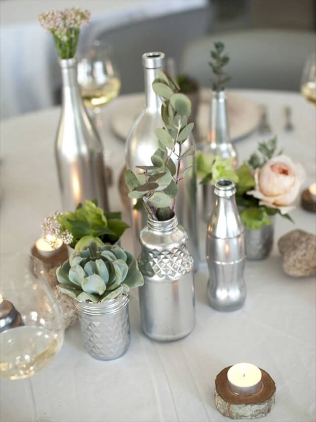 Floral Wine Bottle Centerpiece: