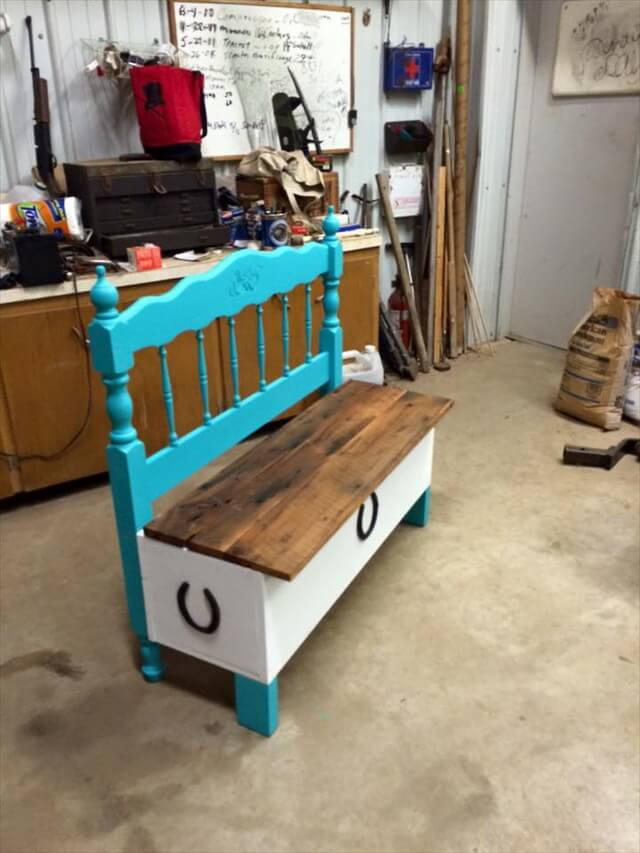 Old Headboard and Reclaimed Pallet Bench