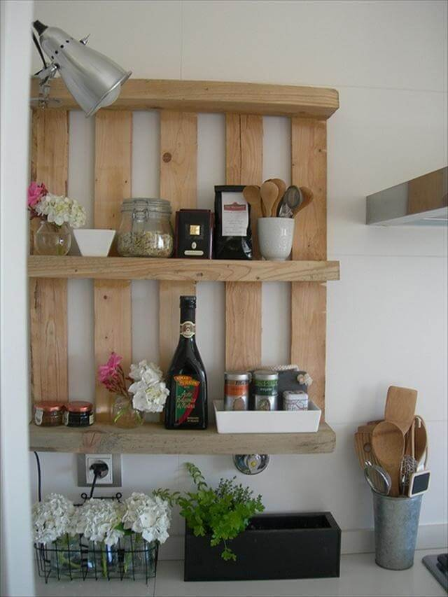 upcycled pallet wall shelf