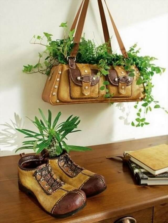 bag and shoes planter idea