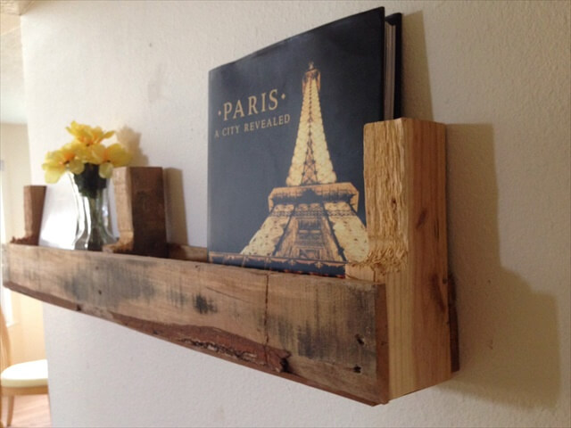 Reclaimed pallet wood shelf, rustic shelf, hanging shelf, light pallet shelf