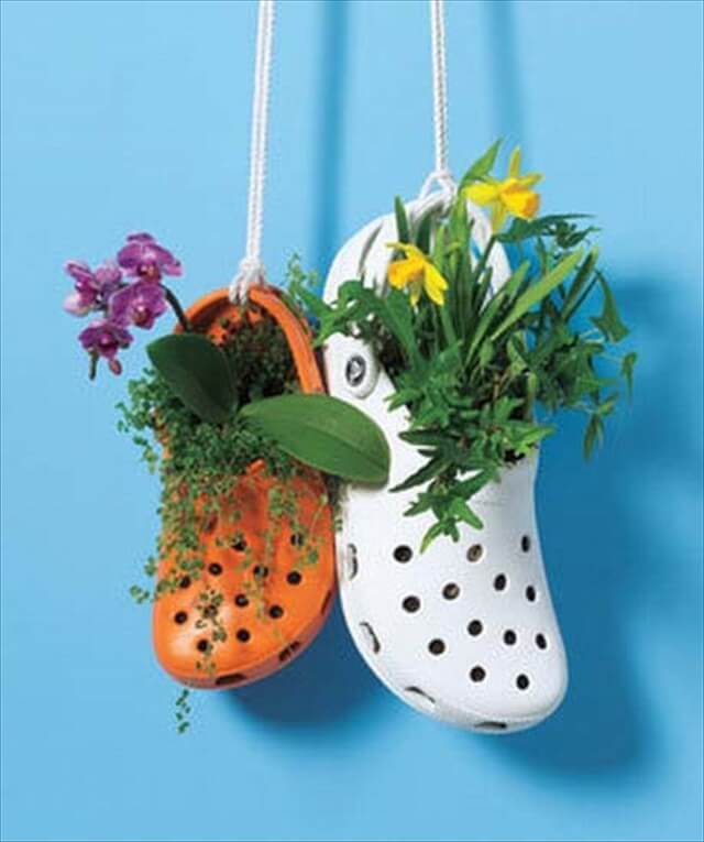 hanging planters made of shoes