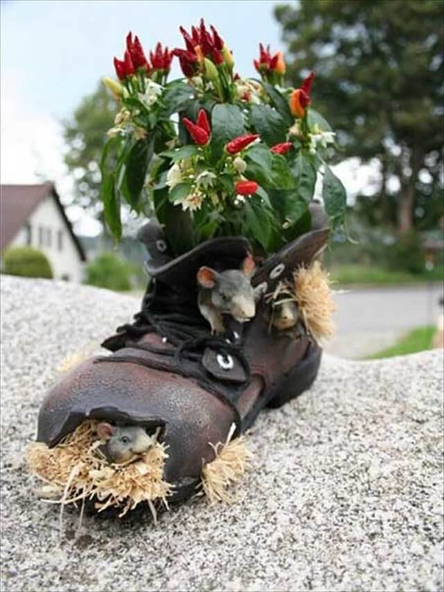 black shoes planter awesome idea