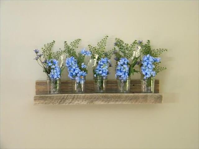pallet shelf for flower vase