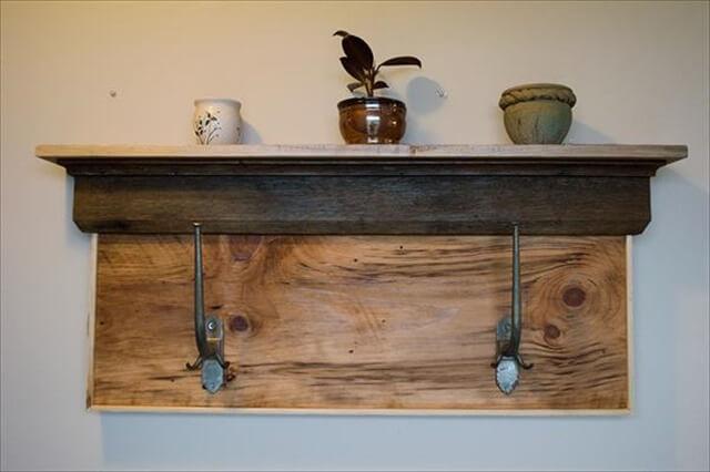reused pallet shelf and coat rack