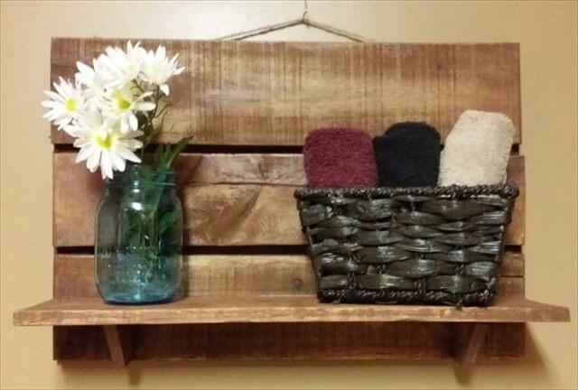 Rustic Pallet shelf, Bathroom Shelf, kitchen shelf, Hall Shelf, country western decor