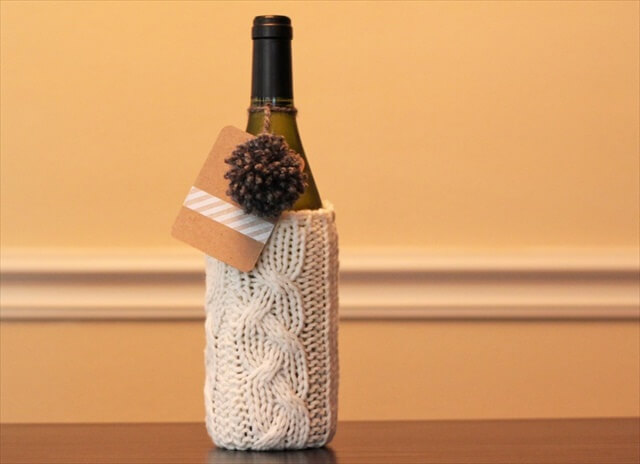Cabled Wine Bottle Cozy