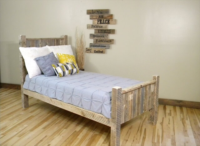 very small wooden pallet bed