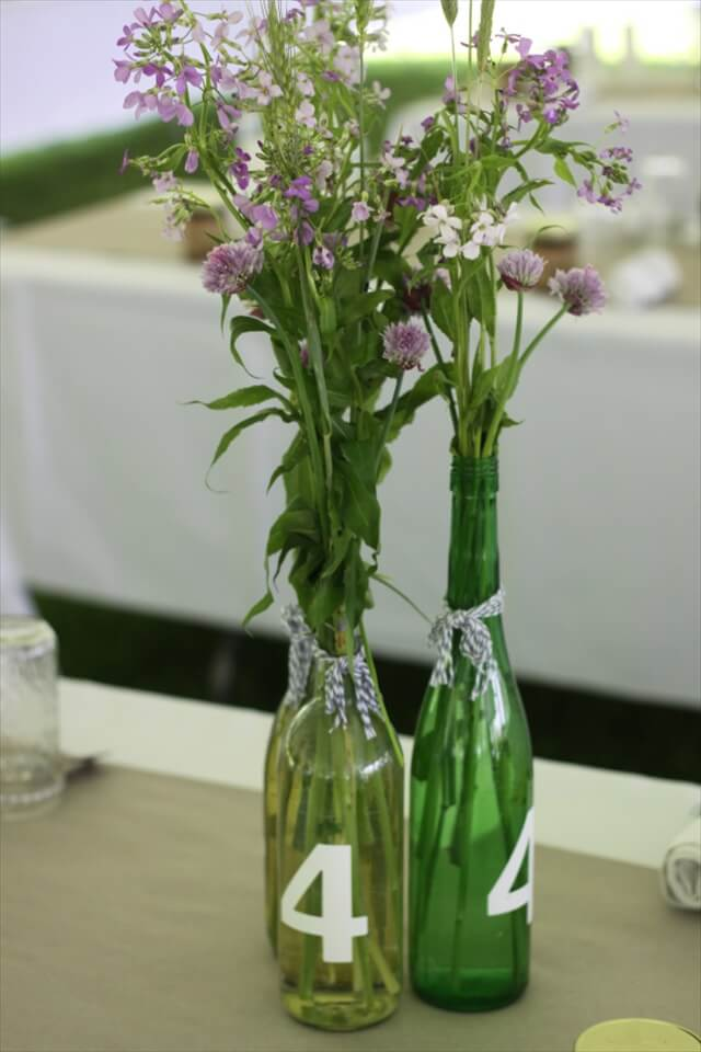 Wine Bottle Wedding Decor Idea Centerpiece