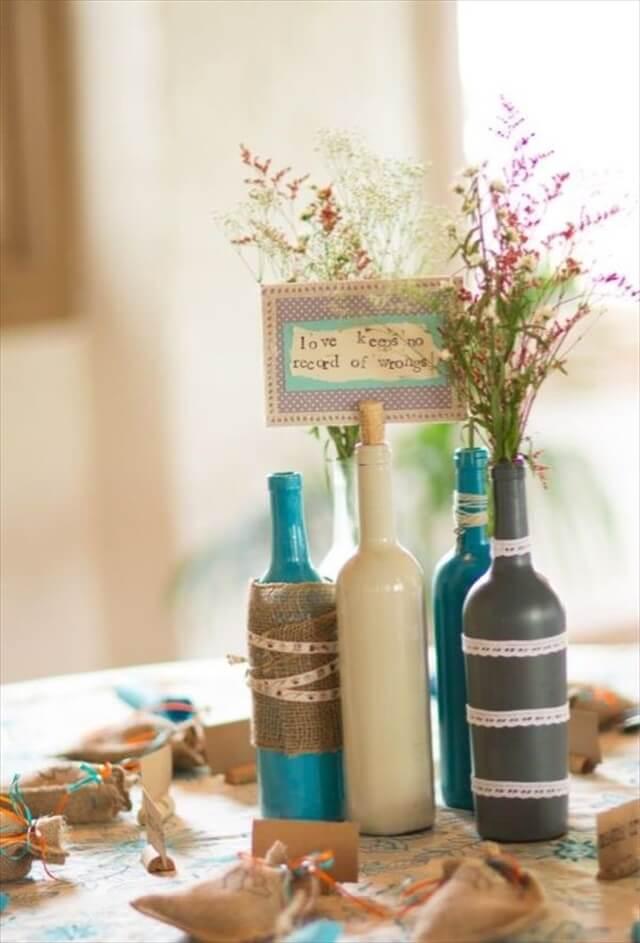 Painted Wine Bottles Decoration Piece