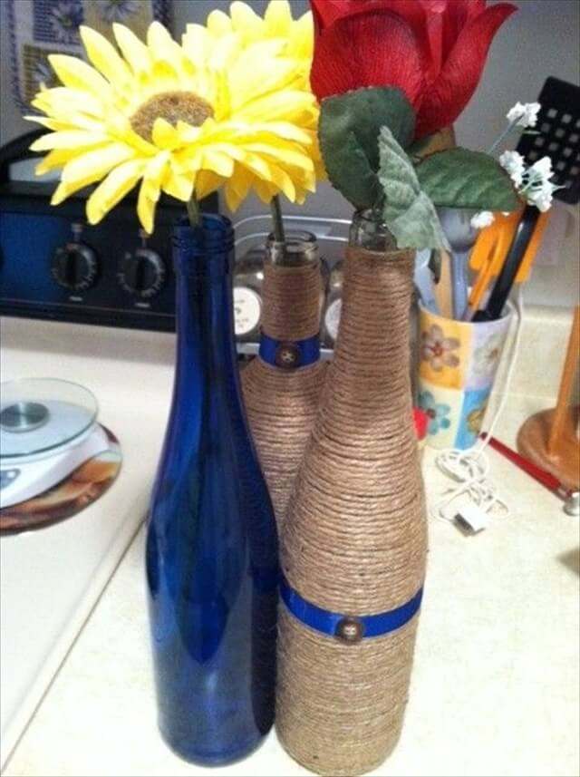 You can also combine the technique we've mentioned before. For example, paint the bottle then paint a chalkboard label on them and, finally, decorate them with twine