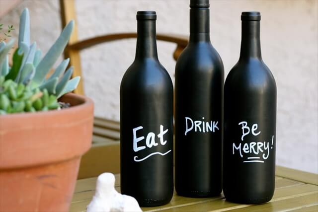 This is another example of a wine bottle mini garden but this one also has a cork stopper that prevents the bottle from moving on the table.
