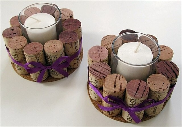 DIY candle holder made out of wine corks