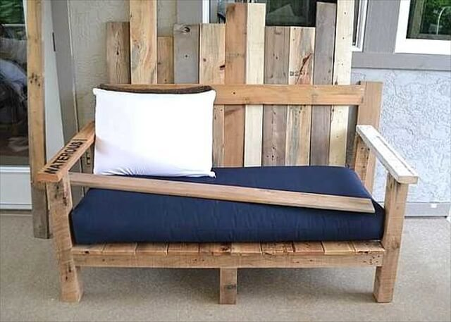 diy garden benchwith cushions