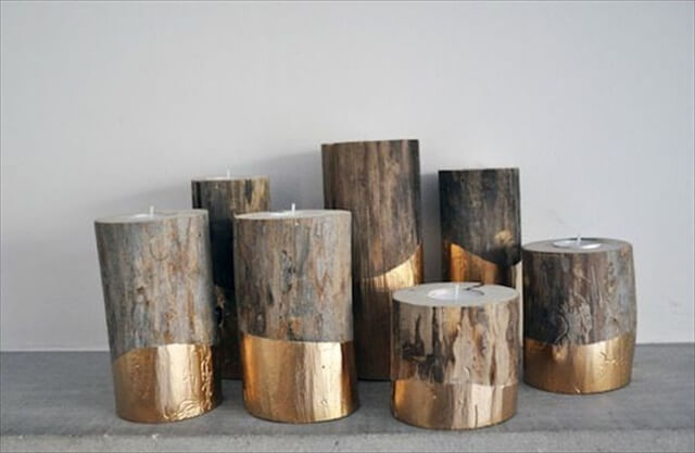 DIY gold-dipped candle holders