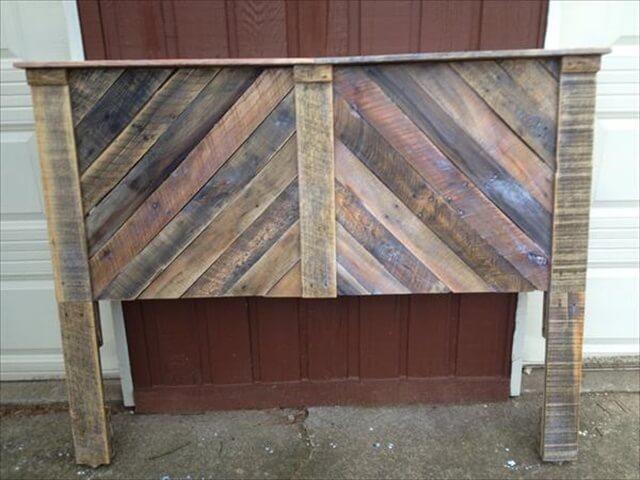 handmade wooden pallet chevron headboard with shelf
