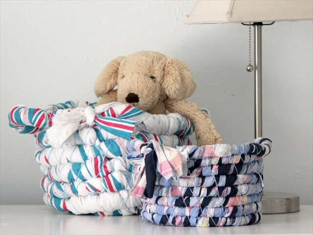 Basket Out of Baby Blankets or Fabric Scraps