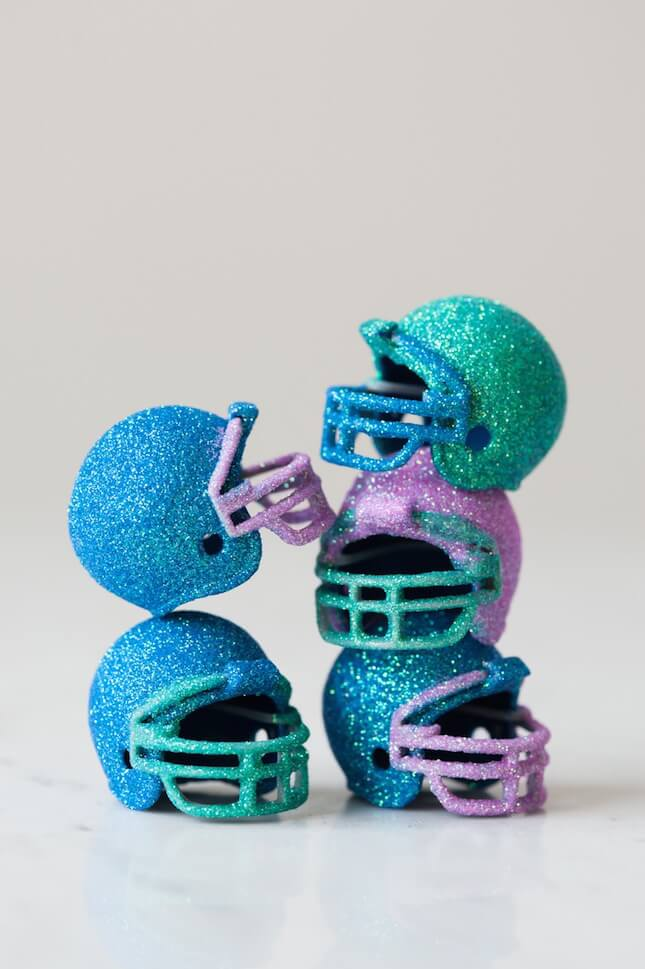 DIY Glitter Football Helmets: