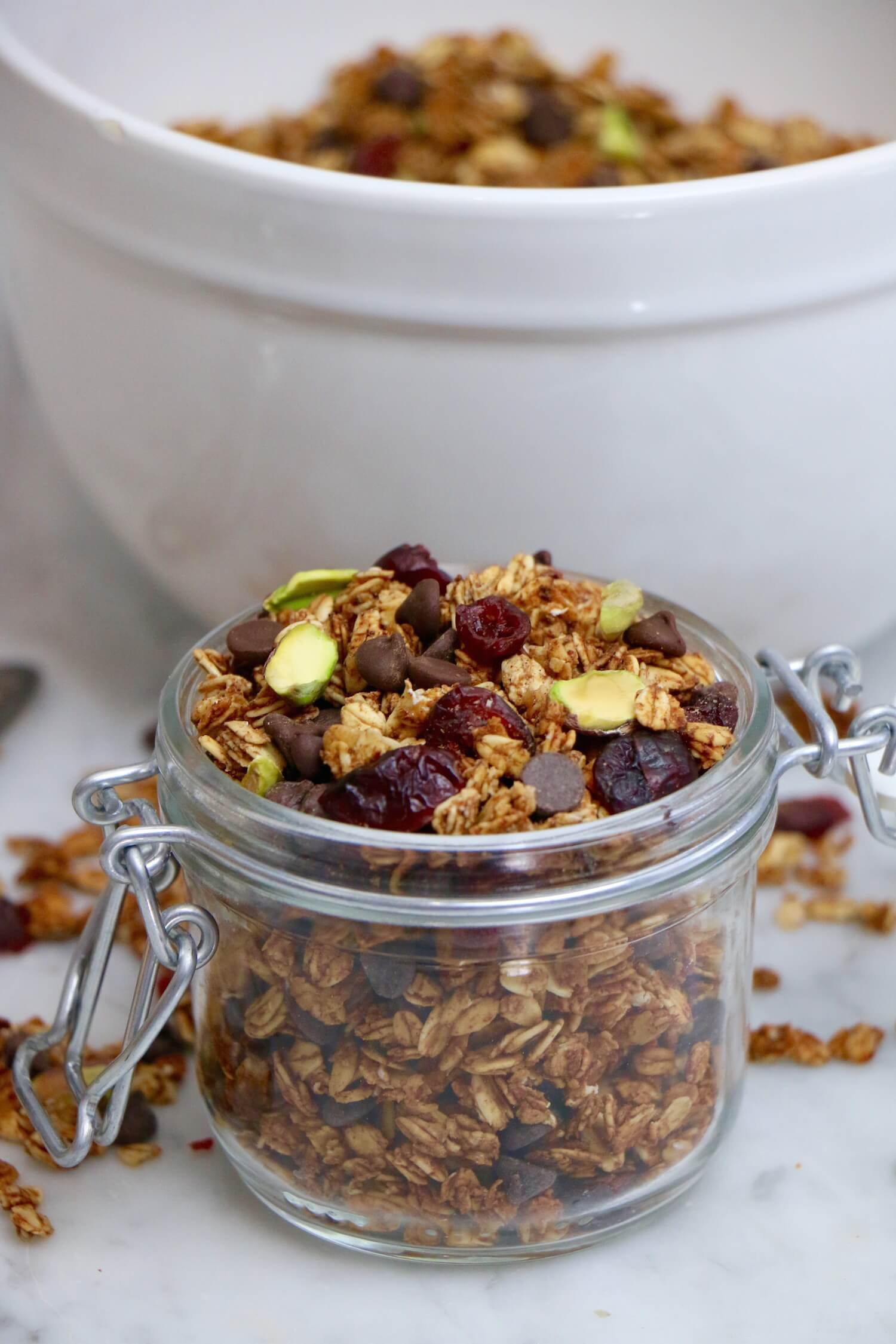 Dark Chocolate Cranberry and Pistachio Granola: