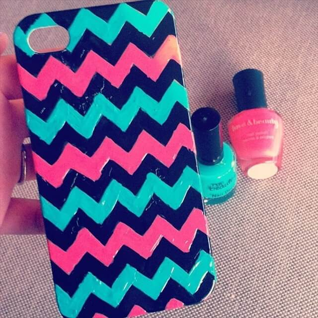 DIY IPhone case. Splatter nail polish on the case