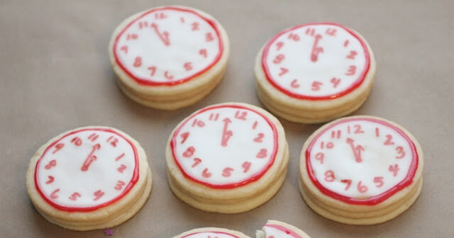 New Year's Confetti Clock Cookies