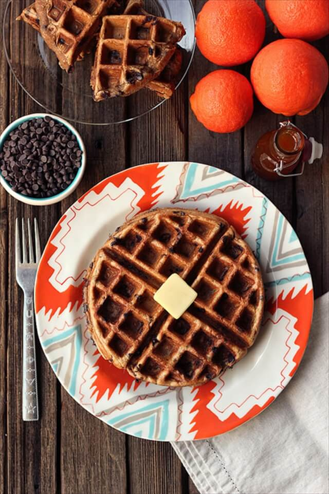 Spiced Orange Chocolate Chip Waffles