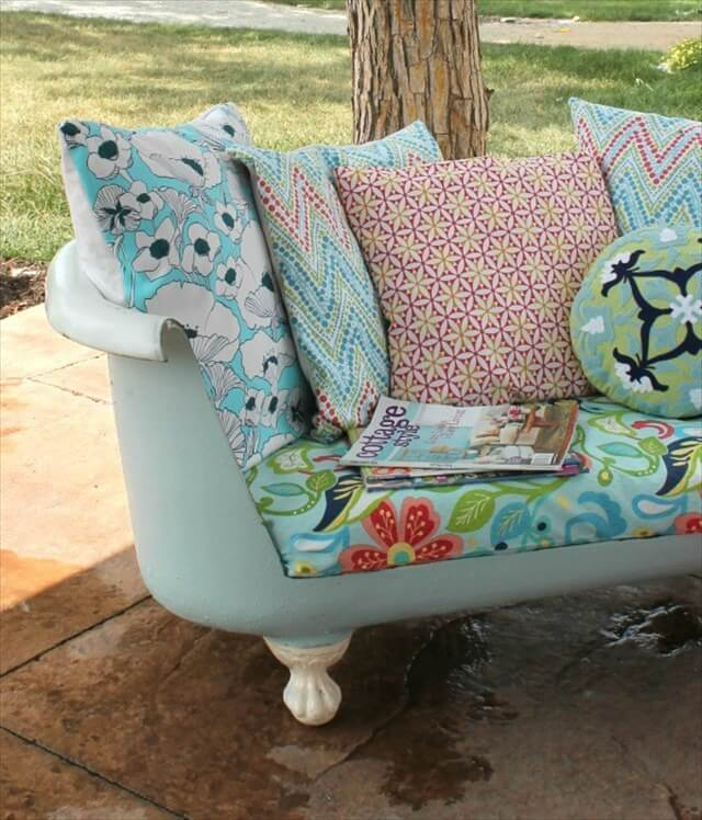 Cast Iron Tub Into An Outdoor Sofa
