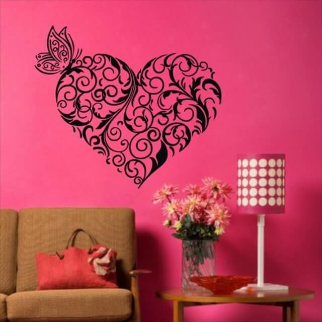 DIY Black Heart Shaped Flower Vine Wall Sticker Decal Decor Removable Vinyl Mural Art Home Room Decoration