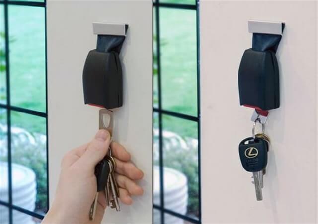 Upcycled Seat Belt Buckle Key Holder