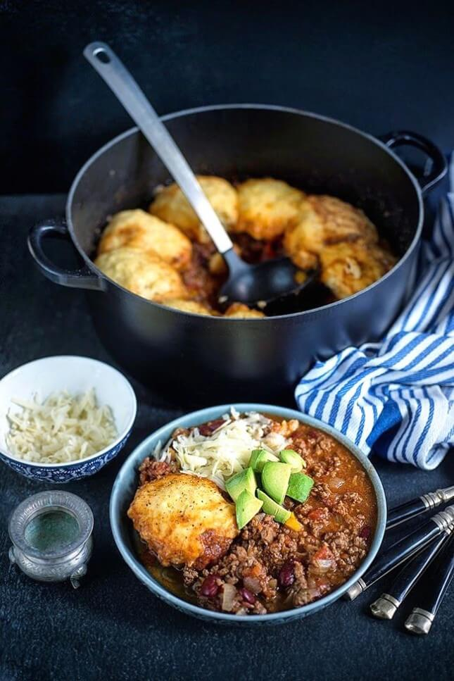Beef Chili With Cornbread Dumplings:
