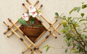 decorative bamboo poles wall decoration flower pot