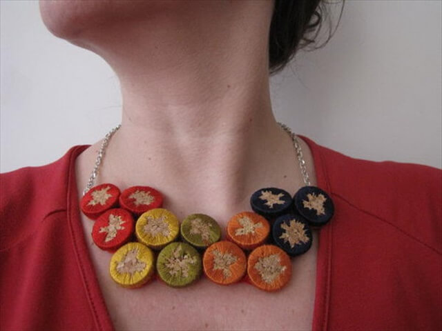 DIY Embroidered Cork Necklace